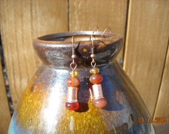 red adventurine and copper earrings