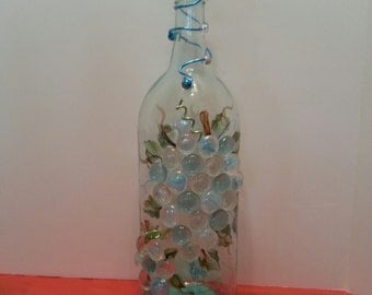Hand-painted Glass Wine Bottle Lamp.