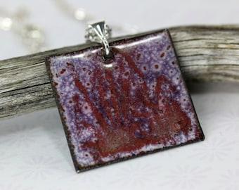 Purple Enamel Pendant, Enamel Necklace, Purple Pendant, Purple Enamel, Purple Pendant, Copper Pendant, Purple Necklace, Purple Pendant