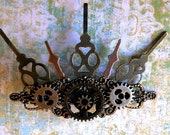 Steampunk Clockwork Hair Clip: Industrial Clock Hands Accessory