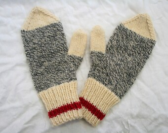 Ladies Mittens in Men's-Work-Socks-Style 100% Wool