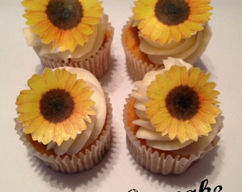 Edible Sunflower Cupcake Toppers