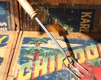 Vintage Three Prong Flesh Meat Fork Carver-Wood Handle-Housewares-Farmhouse Cooking-Steak Fork-Kitchen Utensil-BBQ-Grilling Tool-Antique-