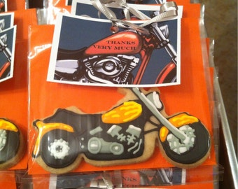 Motorcycle custom decorated cookies - various bike designs available - 1 Dozen