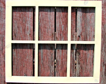 "rustic window decor 6 pane  window frame 24"" tall X 27"" wide pine"