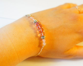 pink quartz silver sterling handmade bracelet