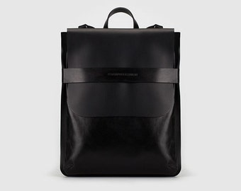 Black leather rectangular backpack-bag with detachable straps.