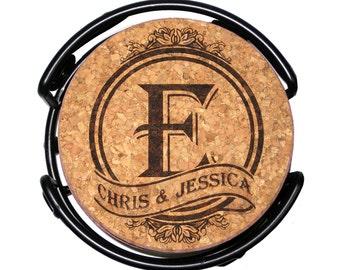 Personalized Monogram-Initial Cork Coaster Set