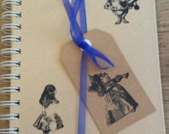 Alice in Wonderland Notebook - Hand stamped - Hardback - A5