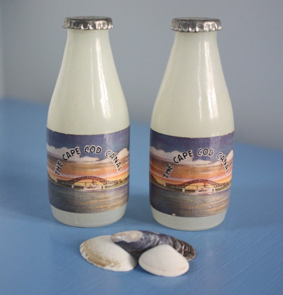 Cape Cod Canal Glass Salt And Pepper Shakers