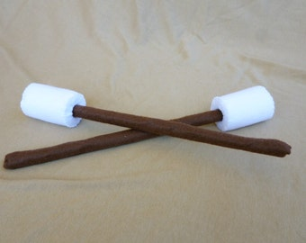 Felt Marshmallows,  Choose from 1, 2 or 3, Toy Marshmallows, Pretend Marshmallows, Roasting Sticks, Toy Camping, Pretend Camping Toys,