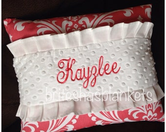 Coral damask embroidered pillow, white ruffles and minky dot