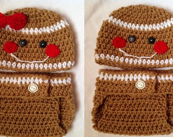 Christmas Baby Crochet Hat and Diaper Cover - Gingerbread
