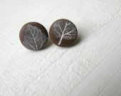stamped stud earrings, button jewelry, stamped clay jewelry, stamped stud button earrings, retro stud earrings, stud buttons