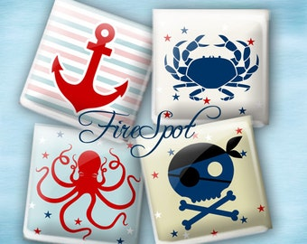 Pirate Anchor Crab navy - Digital Collage Sheet 1.5inch,1 inch,25 mm,20 mm Square Glass Pendants, Bottlecaps,Scrapbooking