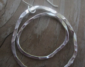 Large Silver Hoops, Organic Silver Multi-Hoop Earrings