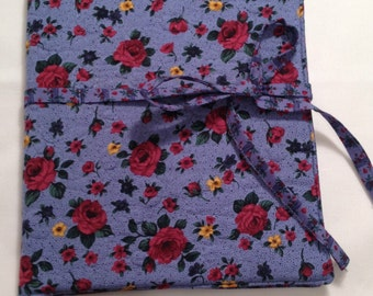 Quilted Journal Cover in Medium Blue Floral #J104