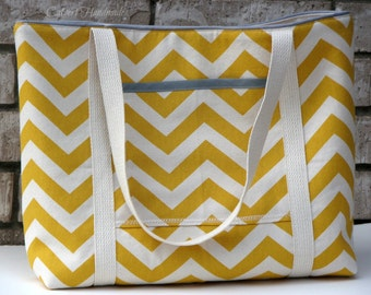 Yellow Chevron Canvas Large Tote Bag with Light Gray Accents-Ready to Ship