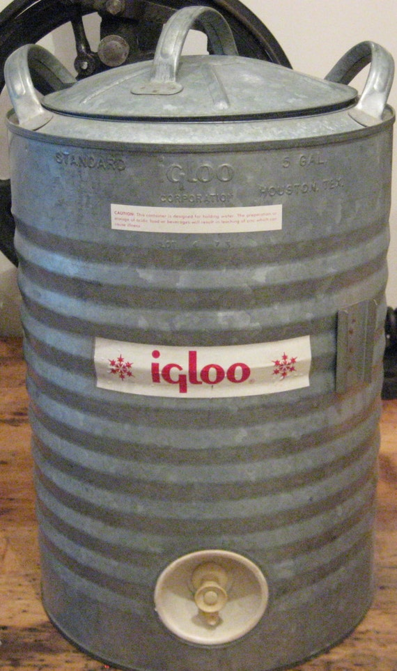 Galvanized 5 Gallon Vintage Igloo Water Cooler Dispenser