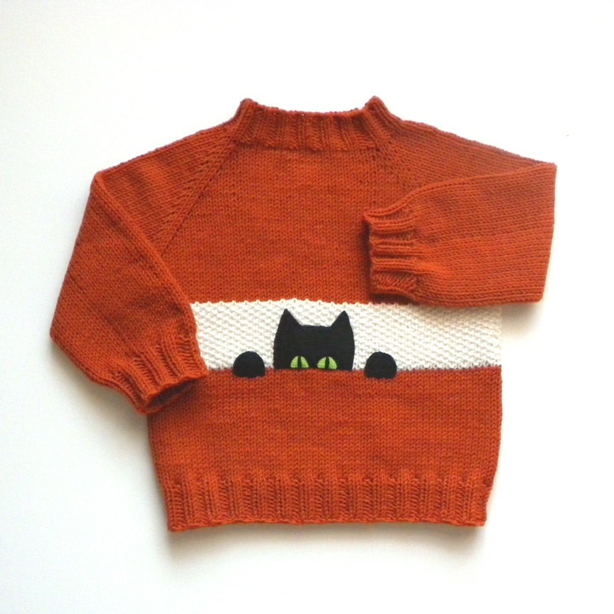 black cat kids sweater fox color baby pullower orange sweater. Black Bedroom Furniture Sets. Home Design Ideas