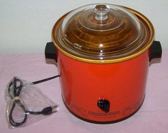 Rival Vintage 2.5 Qt Burnt Orange Red Crockpot 1970s Retro Slow Cooker