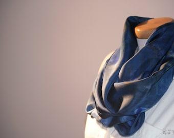 Hand Painted Silk Cowl Dark Blue