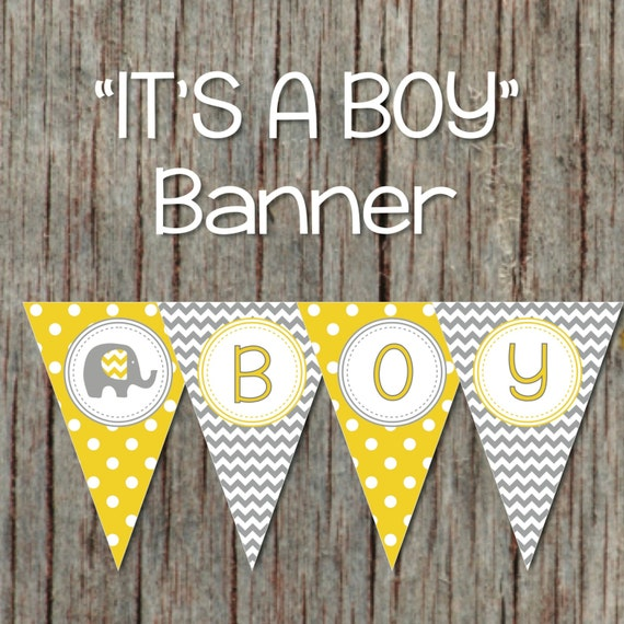 yellow grey baby shower banner elephant printable decorations supplies