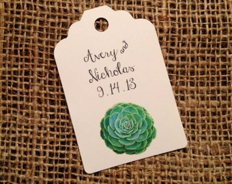 """Succulent Wedding FAVOR TAGS - Customizable! 3"""" or 2.25"""" size"""