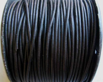 5 Yards 1.5 mm Natural Dyed Black Leather, Round Leather Cord
