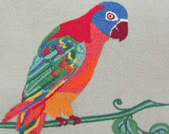 Crewel Pillow Parrot Embroidery Pillow Beach Pillow Embroidery Bird Pillow Tropical Design