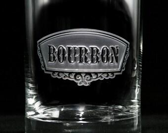 Custom Engraved Bourbon Banner Glass, Set of 2 Glasses