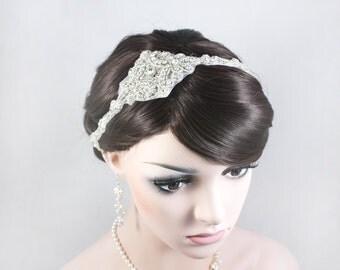 JULIA - The Great Gatsby Inspired Crystal Bridal Headband, 1920s and 1930s Headpiece, Wedding Rhinestone Head band, Bridal Headpiece