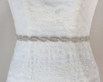 ANDREA - Crystal Rhinestone Bridal Sash, Wedding Beaded Belt, Bridal Crystal Belts, Bridesmaids, Bridal Party