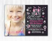 Princess Birthday Invitation  DIY PRINTABLE Digital File or Print (extra) Chalkboard Birthday Invitation Photo Birthday Invitation