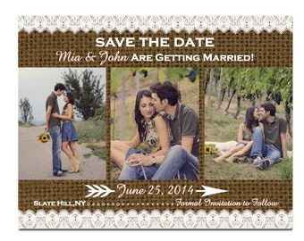 Lace and Burlap Save The Date 3 Photos Magnet or Card DIY PRINTABLE Digital File or Print (extra)