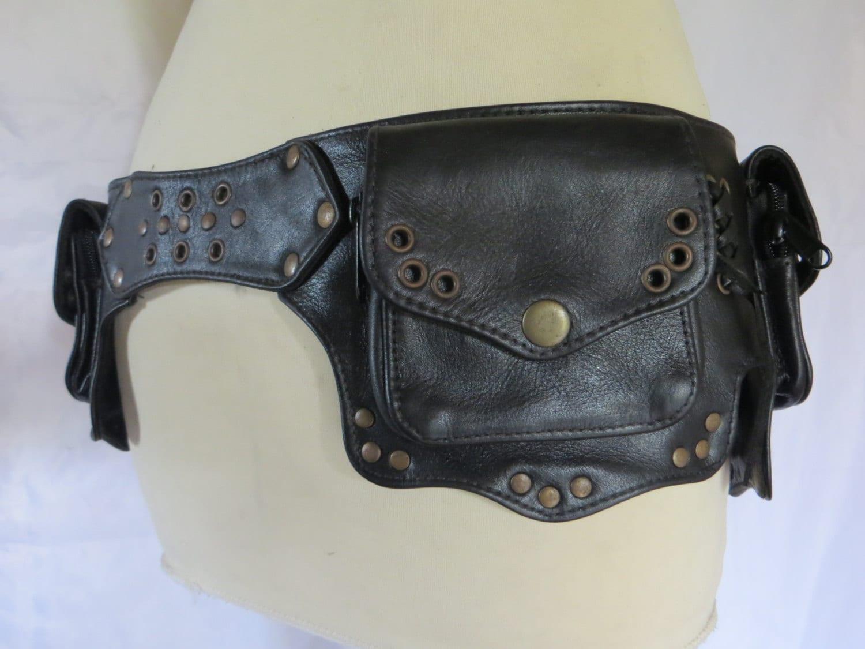 utility belt psytrance style in black leather flower model