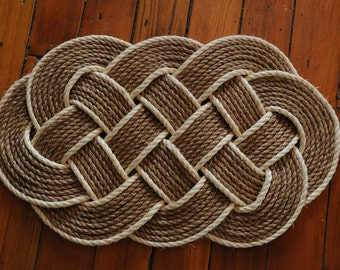 Rope Rug - Nautical Decor - Manila Rope Rug - Sisal - Ocean Plait Rope Rug - Nautical Decor - (32 x 20)