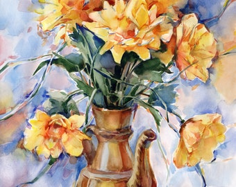 Yellow flowers painting - original yellow gerbera watercolor painting paper, print available