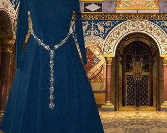 FREE SHIP Medieval Gown Renaissance SCA Garb Cotehardie Color Choice Linen 6 Gore 1pc lxl