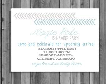 Arrow Baby Shower Invite, 5x7, digital file, printable, personalized, digital download, customized, invite, blue, gray, boy