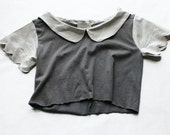 Repurposed Scalloped Crop Top - Goth Schoolgirl Top with Peter Pan Collar - Custom-Made