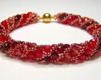 Red spiral bracelet, russian spiral, red twist, red spiral, twist bracelet, rope bracelet, beadwoven bracelet, beadwork bracelet,