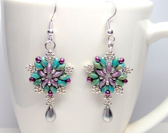 Starburst superduo star earrings with 925 sterling silver or silver plated ear wires, super duo earrings,