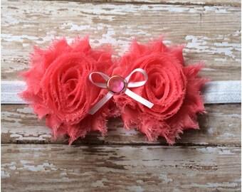 CLEARANCE Peachy Pink Shabby Chic Flower Headband, Baby Headband, Toddler Headband, Girls Headband, Adult Headband, Hair Bow