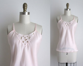 1970s Lingerie / Vintage 1970s Camisole / Deadstock Pink Nylon Camisole