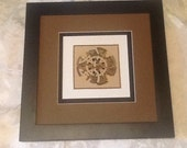 Celtic Print on Silk Fabric Double Matted and Framed 14 x 14