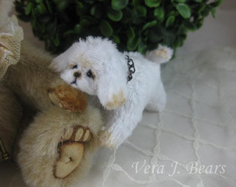 Miniature Artist Plush Dog Puppy for Bear or Doll Handmade by Vera J.Bears