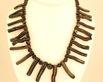 Faux Black Coral Necklace