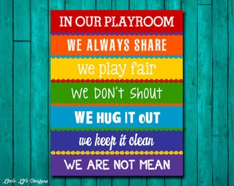 Playroom Rules Sign. Childrens Wall Art. Kids Room Decor. Rainbow Playroom Sign. Playroom Decor. Playroom Wall Art. In Our Playroom We...