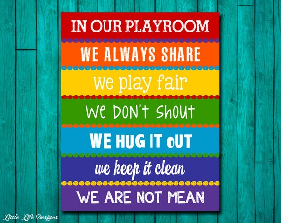 Playroom rules sign childrens wall art kids room decor for Kids room signs